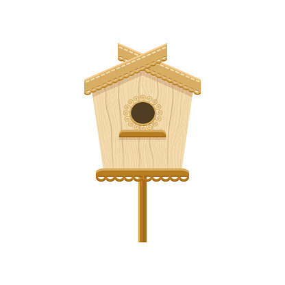 스탠드에 버드 나무입니다 둥지 상자의 평면 벡터 아이콘입니다 조류에 대 한 작은 집 인사말 카드에 대 한 장식 요소 0명에 대한 스톡 벡터 아트 및 기타 이미지