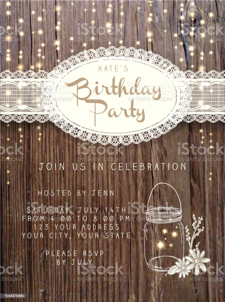 Wooden Birthday party invitation design template background with string lights vector art illustration