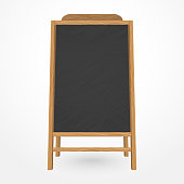 Wooden blackboard cafe menu with chalk, Restaurant black board, Billboard Template. Vector