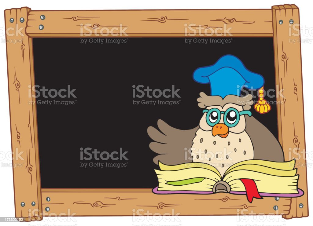 Wooden blackboard with owl teacher royalty-free stock vector art