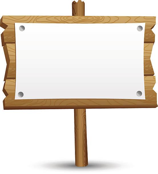 Wooden blank sign vector art illustration