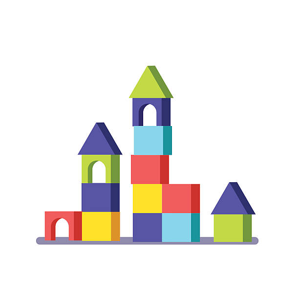 wooden block building game castle - lego stock illustrations