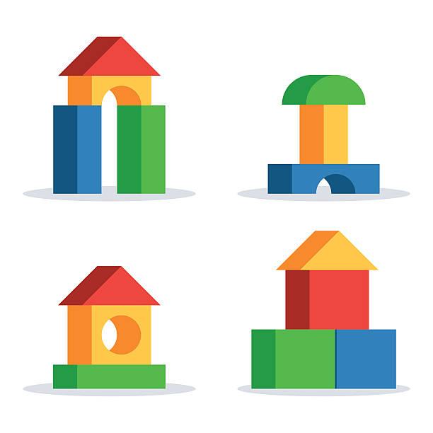 bildbanksillustrationer, clip art samt tecknat material och ikoner med wooden blocks toy castle - förskolebyggnad