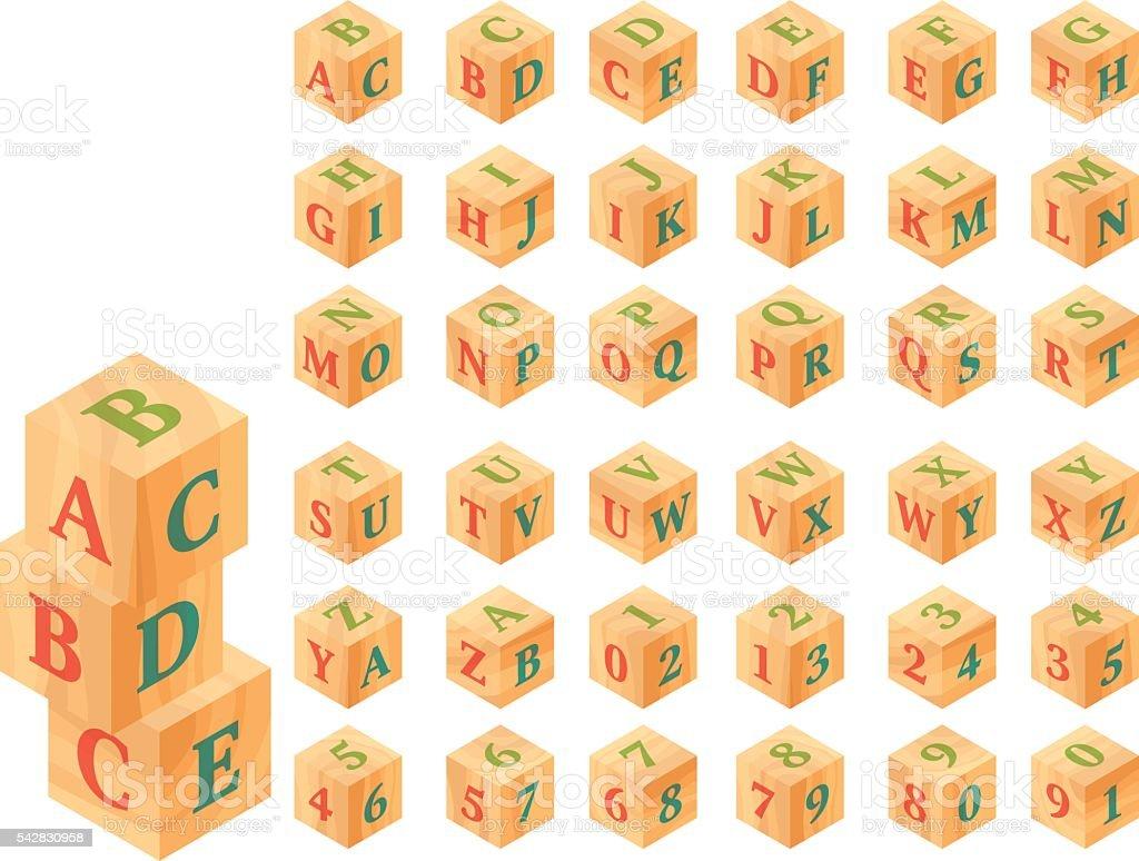 Bloques de madera con letras y números, alfabeto - ilustración de arte vectorial