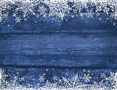 Wooden blue christmas background with snowflakes and stars, vector illustration