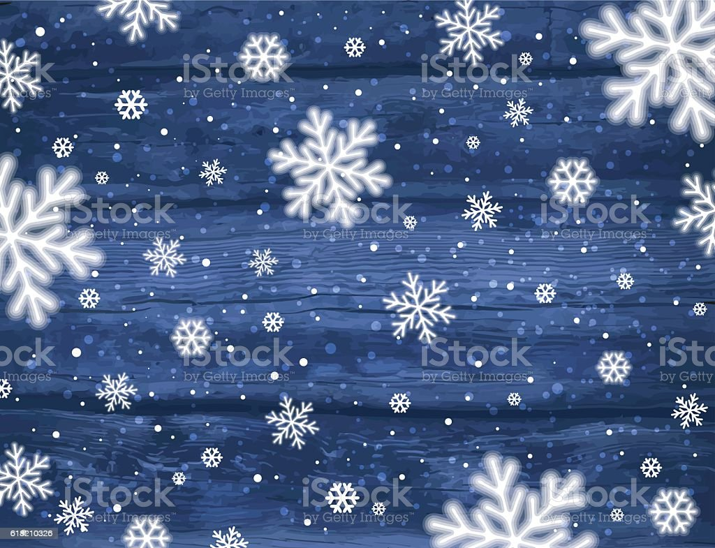 Wooden Blue Christmas Background With Snowflakes Vector