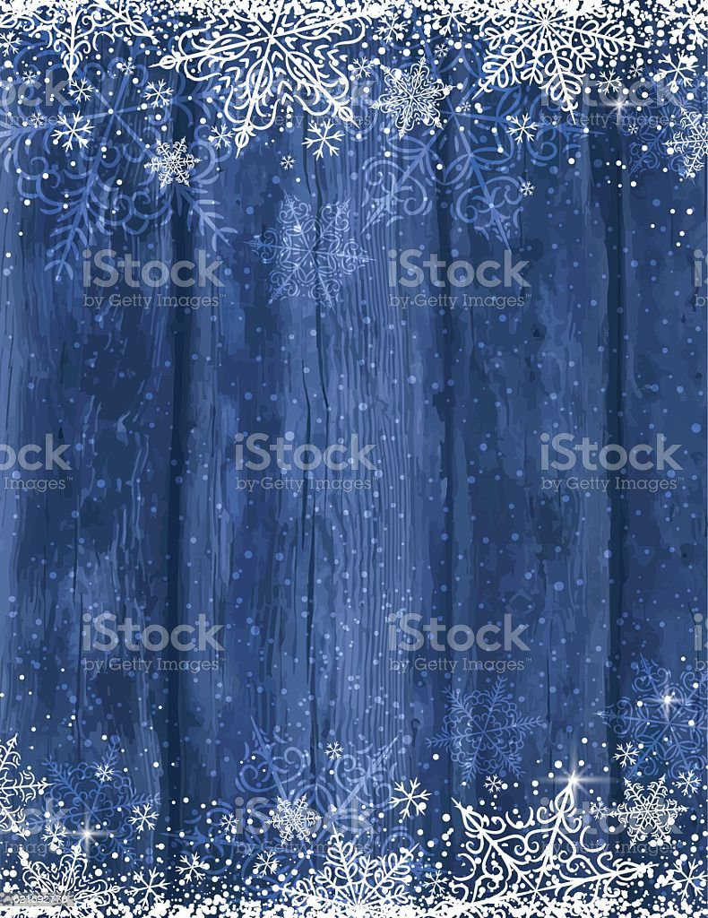 Wooden blue christmas background with snowflakes, vector vector art illustration