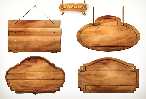 Wooden board, old wood vector set clipart