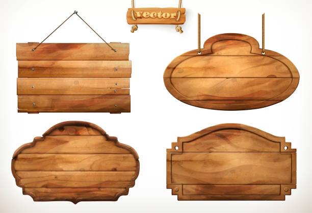 ilustraciones, imágenes clip art, dibujos animados e iconos de stock de tablero de madera, vieja madera vector set - señal