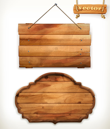 Wooden board, old wood vector clipart