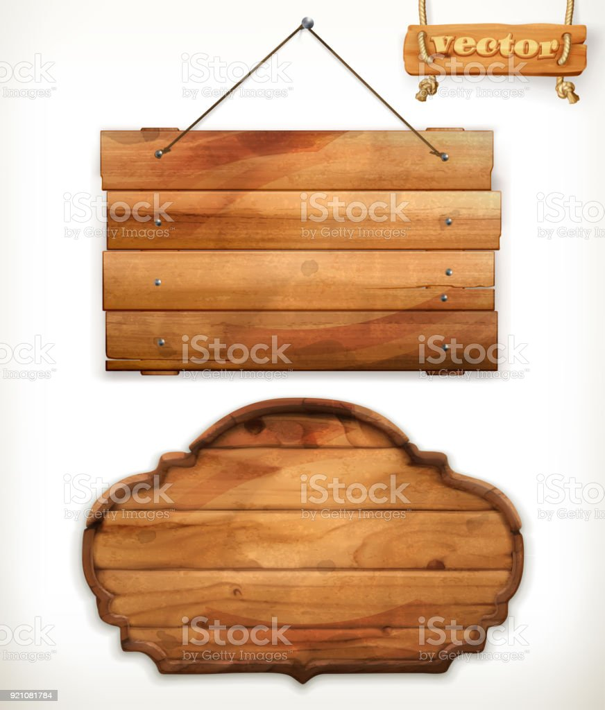 Wooden board, old wood vector vector art illustration