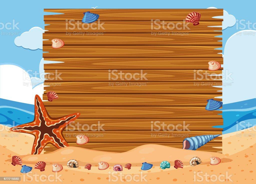 Wooden board on the beach vector art illustration