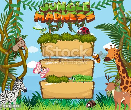 Wooden board template with many animals in background illustration