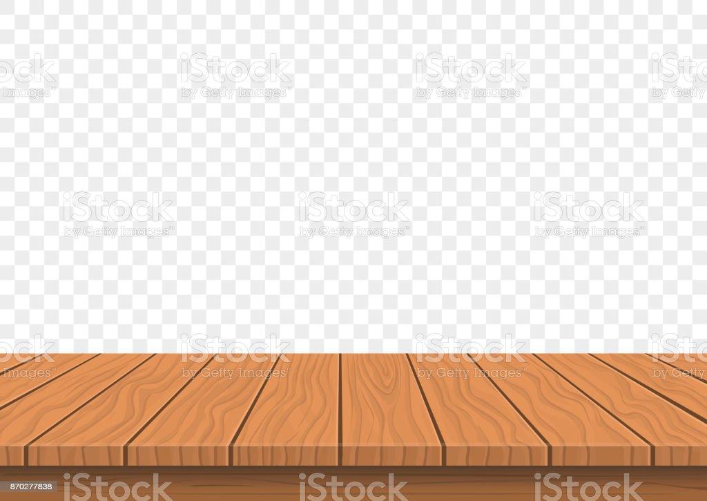 wooden board top on transparent background vector art illustration