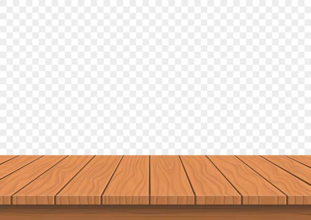 illustrazioni stock, clip art, cartoni animati e icone di tendenza di wooden board top on transparent background - tavolo legno