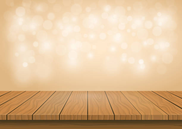 Wooden board top on transparent background Wooden presentation board top on sparkly golden bokeh abstract background, blank product display table with empty space. Vector oakland stock illustrations