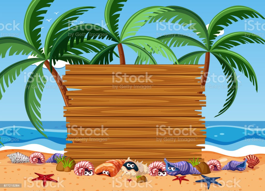 Wooden board with sea animals and ocean in background vector art illustration