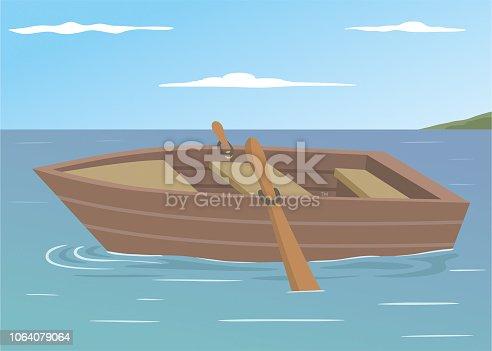 istock Wooden boat cartoon illustration 1064079064
