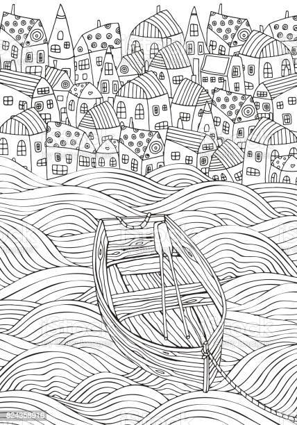 wooden boat floating on the waves seaside homes boat sea doodle and vector id