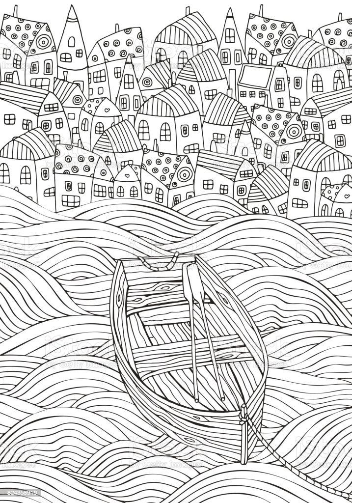 Wooden boat floating on the waves. Seaside, homes, boat, sea. Doodle vector. Black and white pattern for adult coloring book. vector art illustration