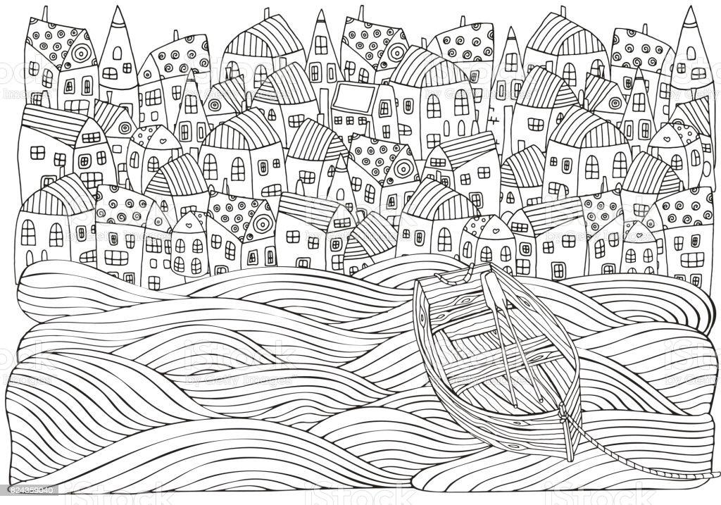 Holzboot Auf Den Wellen Treiben Am Meer Häuser Boot Meer ...