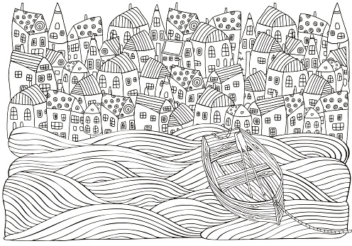 Wooden boat floating on the waves. Seaside, homes, boat, sea. Doodle vector. Black and white pattern for adult coloring book.