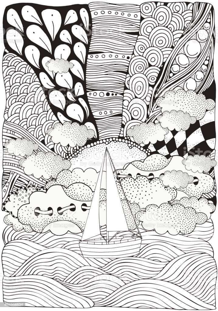 Wooden Boat Floating On The Waves Sun Sea Art Background Handdrawn