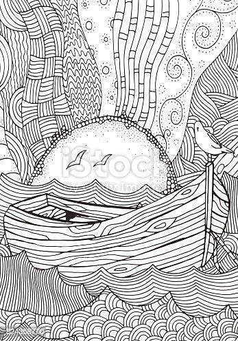 ᐈ Imagen De Barco De Madera Flotando Sobre Las Olas Sol Mar