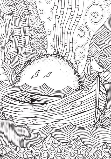 Wooden boat floating on the waves. Waves, boat, sea, art. Hand-drawn doodle vector. Vector pattern for adult coloring book. Black and white. vector art illustration