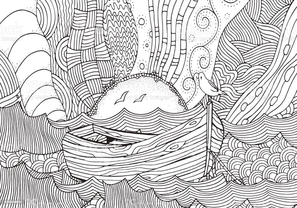 Wooden Boat Floating On The Waves Sea Art Handdrawn Doodle Vector Pattern For Adult Coloring Book Black And White Stock More
