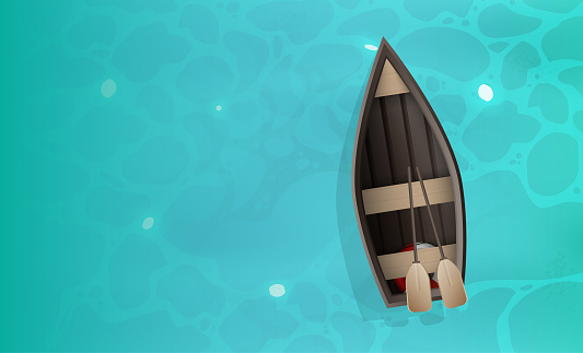 Wooden boat with oars. Turquoise water surface in the ocean. View from above. Background for a summer poster with a place for text. Vector.