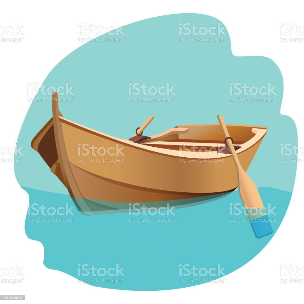 Bateau en bois avec avirons vector illustration isolé sur blanc. - Illustration vectorielle
