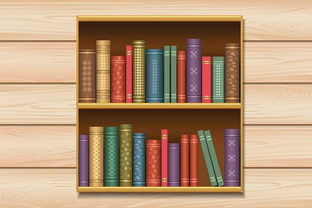 shelf spine vector clip wooden illustrations illustration graphics royalty