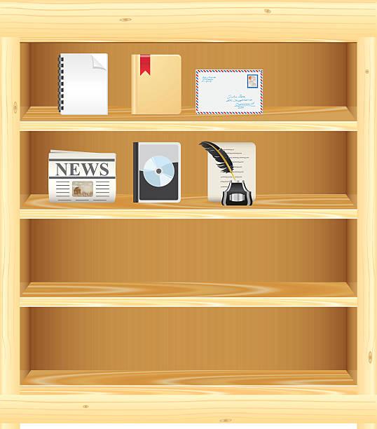 hölzerne bücherregal/dvd-ständer für ihre anmeldungen - stiftehalter stock-grafiken, -clipart, -cartoons und -symbole