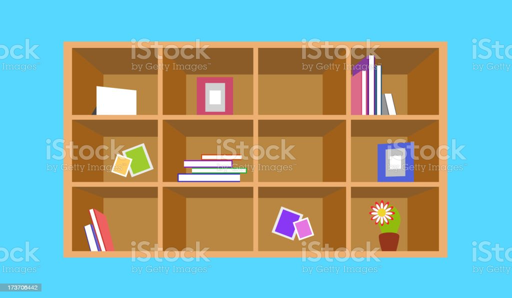 Wooden bookshelf with things royalty-free stock vector art