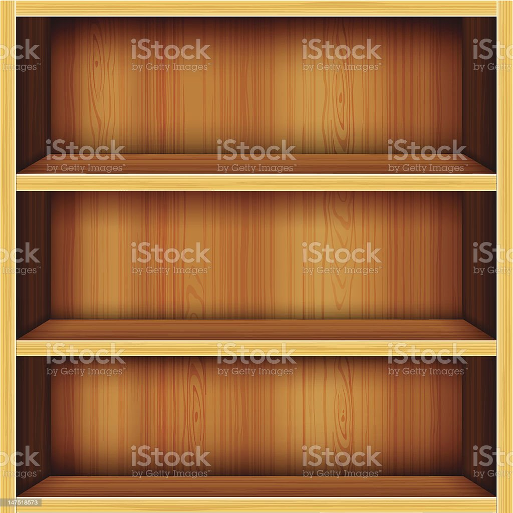 Wooden Bookshelves Background royalty-free stock vector art