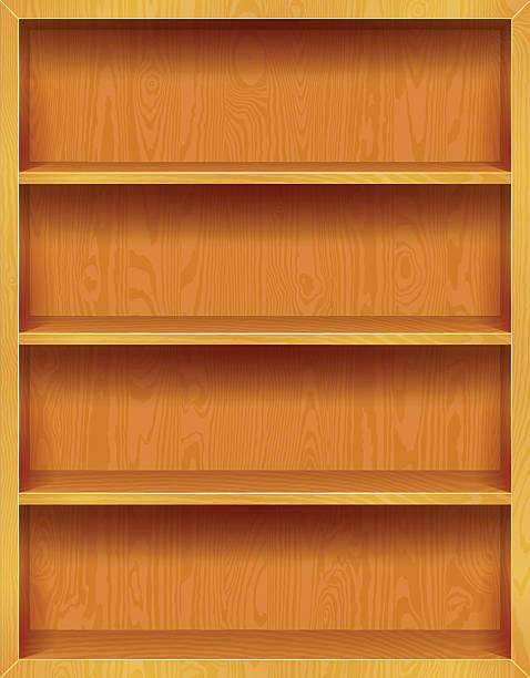 Wooden Bookshelves Background vector art illustration