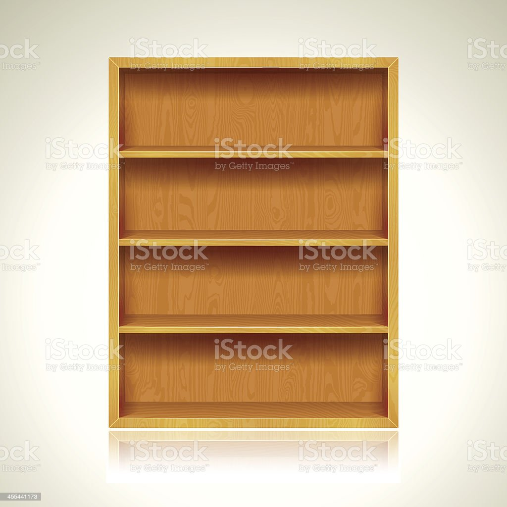 Wooden Bookshelves Background vector art illustration