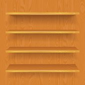 Vector store/book empty 3d shelves collection on wooden background. Shadows are transparent, wood texture is in clipping masks, 10 EPS.