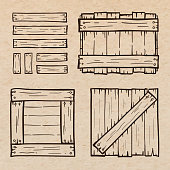 Set of wooden box doodles, scrapbook paper background