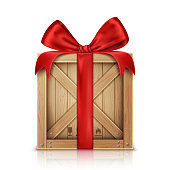 Wooden box with silk red ribbon bow realistic vector illustration. Wooden crate or cargo box for storage, transportation and delivery of holiday or christmas gift isolated on white background