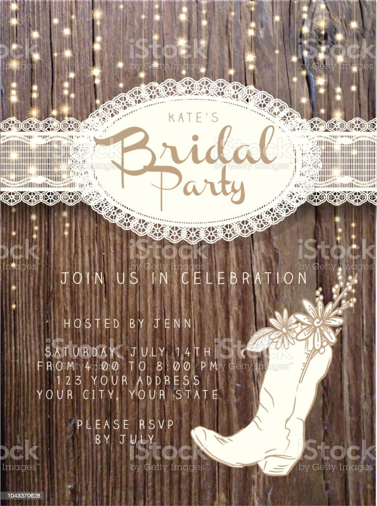 Wooden Bridal party invitation design template background with string lights royalty-free wooden bridal party invitation design template background with string lights stock vector art & more images of art