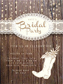 Vector illustration of a Wooden Bridal party invitation design template background with string lights. Includes lace and white cowboy boot with flowers.