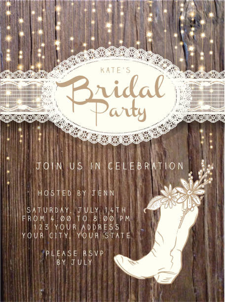 wooden bridal party invitation design template background with string lights - wedding stock illustrations, clip art, cartoons, & icons