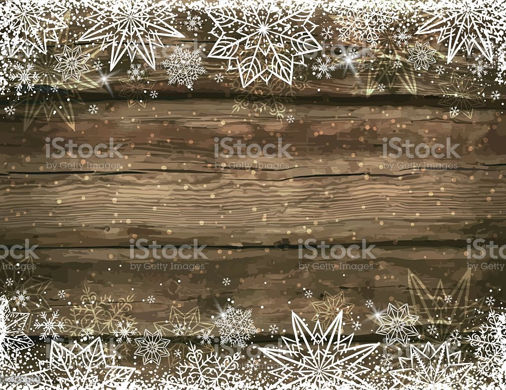 Wooden brown christmas background with snowflakes and stars - arte vettoriale royalty-free di 2017