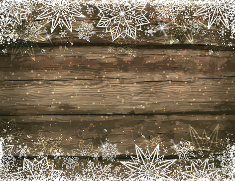 Wooden Brown Christmas Background With Snowflakes And Stars - Immagini vettoriali stock e altre immagini di 2017
