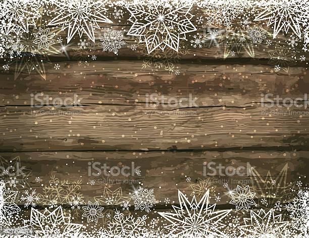 Wooden Brown Christmas Background With Snowflakes And Stars Stock Illustration - Download Image Now
