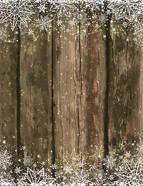 Wooden brown christmas background with snowflakes and stars vector art illustration
