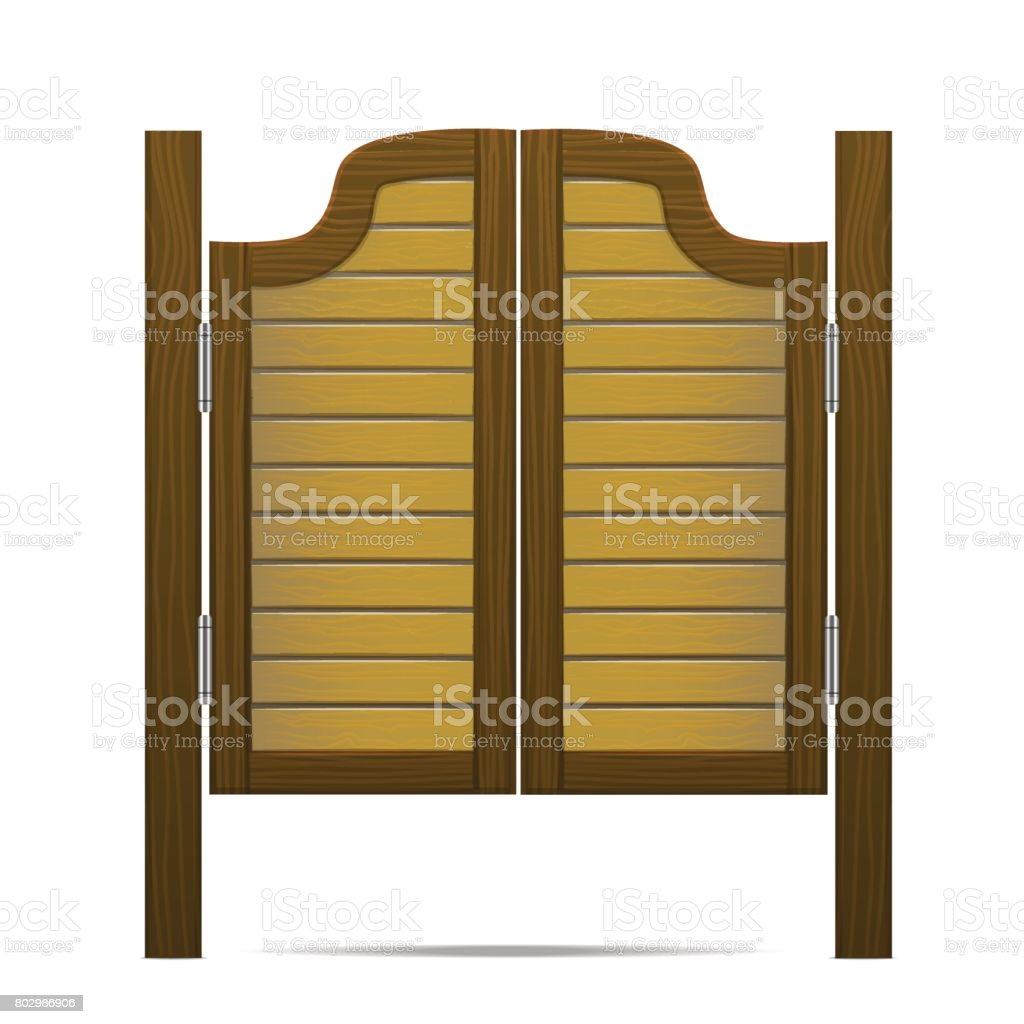 Wooden Brown Gate Or Door In Saloon, Bar Or Pub. Vector Vector Art  Illustration