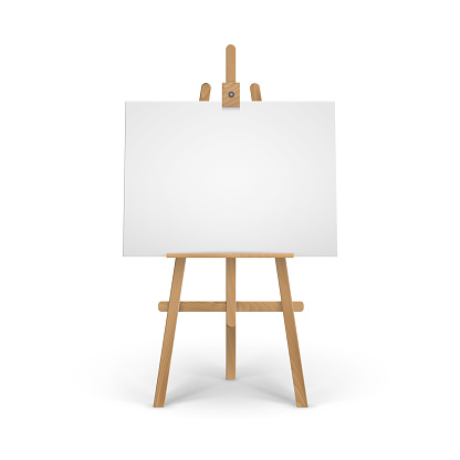 Wooden Brown Sienna Easel with Mock Up Empty Blank Canvas Isolated on Background